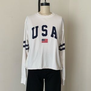 Brandy Melville USA flag embroidered crop acacia